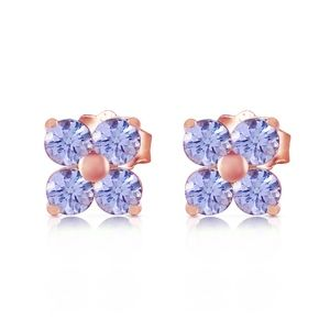 14K. SOLID GOLD STUD EARRING WITH NATURAL TANZANIT
